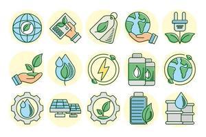 eko- och jordlinje och fyll ikonuppsättning vektor