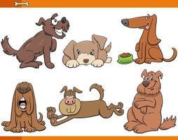 tecknade hundar och valpar djur komiska tecken set vektor