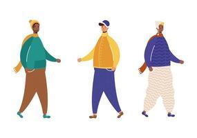 Interracial Männer Gruppe tragen Winterkleidung Charaktere vektor
