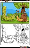 Schnecke und Raupe und Fliege Zeichen Cartoon Malbuch Seite vektor