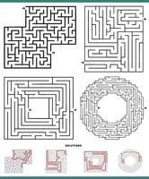 labyrint spel med lösningar vektor