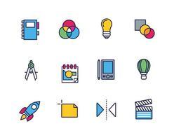Design und Kunst Linie und füllen Icon Set vektor