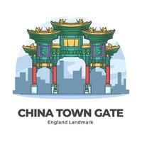 kina town gate england landmärke minimalistisk tecknad film