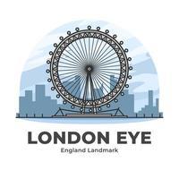 london eye england landmärke minimalistisk tecknad film