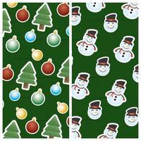 god julkort med snögubbe och träd vektor