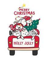 söta glada katter med julgran på röd lastbil vektor
