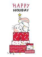 süße Katze auf einem Stapel Weihnachtsgeschenke