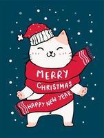 süße Katze im roten Schal, frohe Weihnachten und frohes neues Jahr vektor