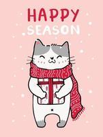 süße Katze in einem roten gestrickten Schal Weihnachten mit fallendem Schnee