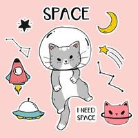 niedliche Astronautenkatze mit Raumikonen vektor