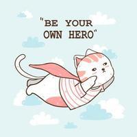 söt katt som bär en rosa kappa och flyger vektor