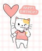 söt katt med rosa hjärta ballong för födelsedagskort vektor