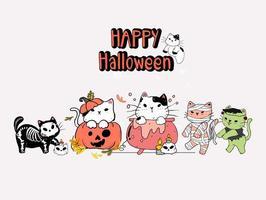 uppsättning söta halloween katter i kostymer vektor