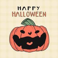 süßer orange Kürbis, der für Halloween-Feier lacht