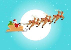 Weihnachtsmann reitet seinen Schlitten vektor