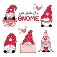 söt valentine kärlek gnome samling vektor