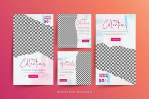 mode sociala medier mall med abstrakt akvarell och sönderrivet papper bakgrund vektor