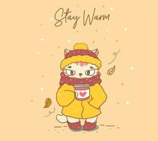 süße Katze mit einem warmen Wintermantel vektor