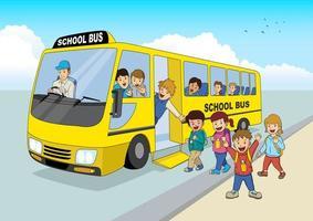 tecknade barn och skolbuss