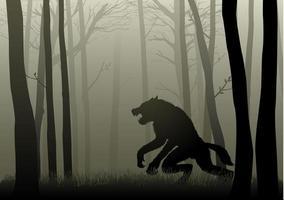 Werwolf im dunklen Wald vektor