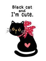söt svart katt med rött band rosett vektor