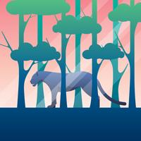 Svart Panther In Jungle Illustration