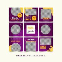 svart fredag sociala medier pusselmall för produktrabatt och marknadsföring med trendig färgstark stil vektor