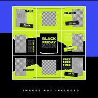 Black Friday Social Media Puzzle Vorlage mit Hype-Stil und Neonfarbe für Promotion Sale Rabatt vektor