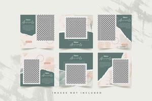 Mode Social Media Vorlage mit abstraktem Aquarell und zerrissenem Papier Hintergrund gesetzt vektor