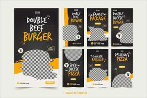 snabbmat banner för sociala medier reklam mall set vektor