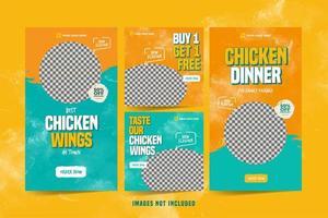 Hühnerflügel Banner für Social Media Werbung Vorlage gesetzt vektor