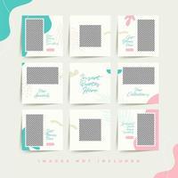 trendiga sociala medier pussel post mall för mode feminina produkt reklam premium vektor