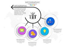Vektor-Infografik-Vorlage mit vier Optionen und Symbolen. vektor