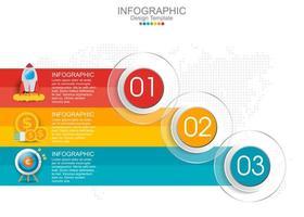 Vektor-Infografik-Vorlage mit drei Optionen und Symbolen. vektor