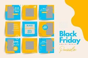 trendiga färgglada svart fredag sociala medier pusselmall för produktförsäljning och rabattkampanj