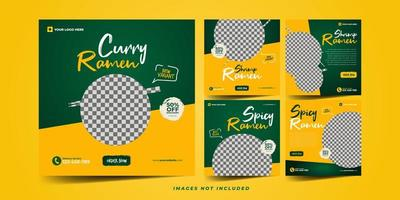 mat banner för sociala medier reklam mall set vektor