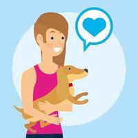 kvinna som håller en hund vektor