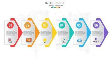 infograph 6 steg färg diagram diagram, affärsgraf design vektor