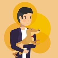 man som håller en hund vektor