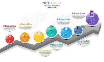 Timeline Infografik Vorlage mit Pfeilen und 7 Optionen flaches Design vektor