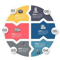 Business-Infografik-Elemente mit 6 Abschnitten oder Schritten