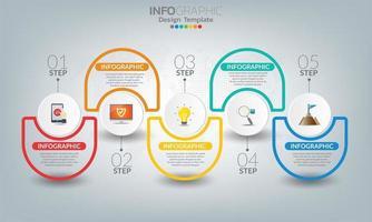 Business-Infografik-Elemente mit 5 Abschnitten oder Schritten vektor
