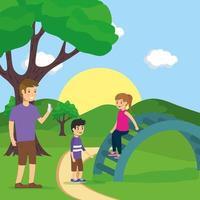 Familie macht Aktivitäten im Freien