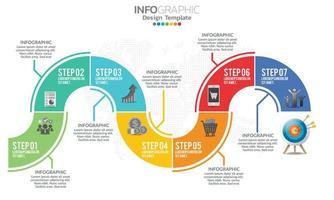 Business-Infografik-Elemente mit 7 Abschnitten oder Schritten vektor