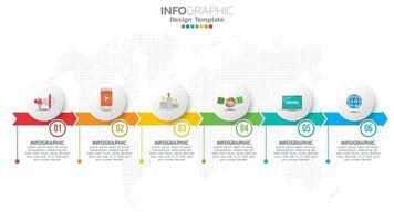 Infograph 6-Stufen-Farbelement mit Pfeil, Diagramm, Geschäfts-Online-Marketing-Konzept. vektor