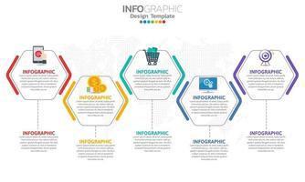 Timeline-Infografik-Vorlage mit 5 Abschnitten vektor
