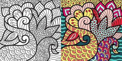 Hand gezeichnete Henna-Stil Mandala abstrakte Zen Tangle Malbuch Seite für Erwachsene und Kinder. vektor
