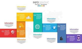 Timeline Infografik Vorlage mit 7 Teilen vektor