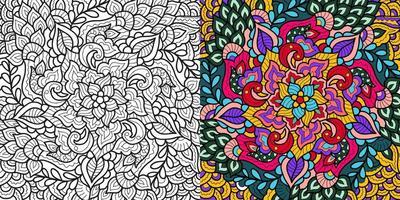 Hand gezeichnete Henna-Stil Mandala abstrakten Zen Tangle Hintergrund. Vektor Umriss Malbuch Seite für Erwachsene und Kinder.