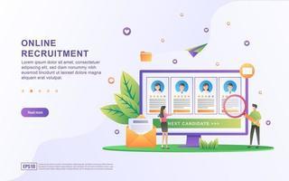 Illustration Konzept Online-Rekrutierung. Geschäftsmann und Frauen eröffnen Rekrutierung